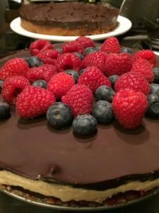 kokos frambozen chocolade taart